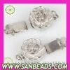 Fashion Flower Rhodium Plated Sterling Silver Clasp