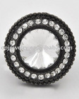 Hematite Tone / Clear Glass / Lead Compliant / Stretch Ring