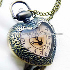 Big crytal surface charm fashion jewelry heart pendant watch necklace