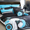 2013 beautiful bed sheet/black embroidery bedding set/blue duvet cover sets