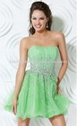 New Arrival Strapless Shallow Green Chiffon Short Evening Dress