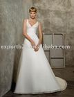 Sexy Deep V neck beading decorate the bodice A-line chiffon beach bridal gown