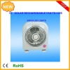 10inch multifunction rechargeable emergency charger oscillation fan with 6W solar panel and radio/fan rechargeable
