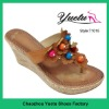 woman beaded upper slippers high heel