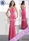Long jersey halter backless sexy evening dress 2012