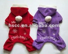 Hotsale Snow flower Design red/purple dog clothes for Christmas Holiday with Merry Christmas