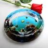 fashion round crystal ashtray with customized painting