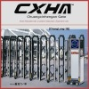 Electric collapsible gate with remote control and anti-climb system