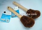 Wood handle coconut palm pan brush