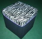 Morden printed zebra nonwoven + MDF foldable ottoman