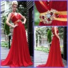 Charming Cheap Dresses Evening Red Off-Shoulder Long Ruffle Beaded Sheath Chiffon