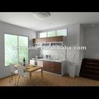MDF carcass cupboard white vinyl wrap melamine kitchen cabinet