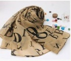 Letters Printed Long Scarf Coffee HY12092509