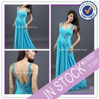 Long jersey beaded strap elegant ready made prom dress 2012