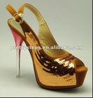 Pretty Steps 2012 Guangzhou wholesale cheap fashion 10cm PU shining latest design lady shoes