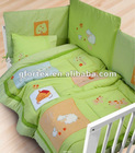 100% cotton green unisex lovely farm baby cot bedding set