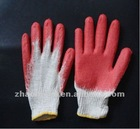 Yarn flat rubber coated gloves