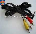 3.5mm DC right angle plug to 3 RVC male AV cable