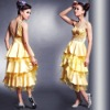 D82583 Elegent yellow straps organza lace ruffles cocktail dress accept paypal