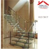 waterproof and fadless stair with laminate glass skirting board and iron & steel banister