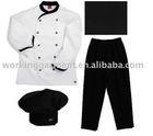 chef uniform(sets,simple white with black trim,black chef pants)