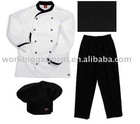 chef uniform(sets,simple white with black trim,black chef pants)