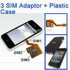 Dual SIM Card Adapter for iphone 4 + Plastic Case for Multi-SIM Card
