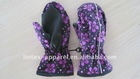 2012 newest purple printed kids waterproof snow glove