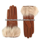 fleece fur cuff leater fashion dress gloves