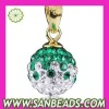 Ball pendant of necklace with crystal in Green-White color for women