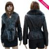 Ladies' fashion sheepskin coat with big fox fur closure