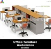 Modular metal frame office workstation with side cabinet