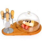 Multi-function cheese dome set with knife