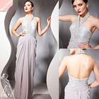 Elegant Silver Sequins Halter Long Sheath chiffon cocktail dress