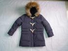 Wholesale & Retail Girls Fur Hooded Buckle Down Coat/jacket--Purple