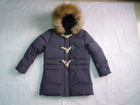 Wholesale & Retail Girls Fur Hooded Buckle Down Coat/jacket--Purple