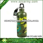 Super quality capacity 500ml double wall Stainless steel vacuum military water with carabiner with compass, sport water bottle