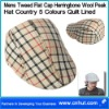 Mens Tweed Flat Cap Herringbone Wool Peak Hat Country 5 Colours Quilt Lined 03