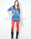 red pu leather membrane coated elastane jersey of tights fabric