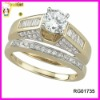 2pcs cz clustered 925 sterling silver engagement ring