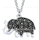 silver plated elephant charm necklace