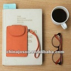 handmade eiffel tower orange pu leather cell phone pouch with strap