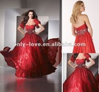 Shimmer organza sweetheart neckline Gathered bodice colorful rhinestones hand beaded front back of bodice prom dress OLP021