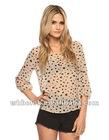 Nice ladies chiffon blouse long sleeve spot design