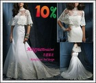 2012 Net Cape with Matching Lace qq209 Satin wedding gown