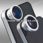 Silver 3in1 Fish eye Lens+Wide Angle+Macro Lens Camera Kit For iPhone 4G 4S