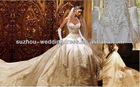 BG1 Custom Gorgeous Ivory Satin With Gold Embroidered Halter Wedding Dress