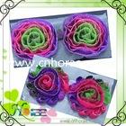 fancy glitter style dacron flower trims