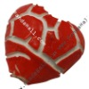 Handmade Porcelain Broken Red Heart Beads(PORC-116-7XH-17)