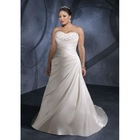 A-line Plus Size Sweetheart Floor-Length Taffeta Wedding Dress